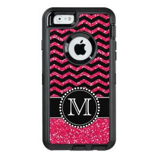 Black & Pink Glitter Chevron Monogrammed Defender OtterBox iPhone 6/6s Case