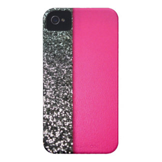 Black & pink glitter iphone cover