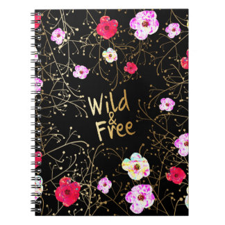 Black Pink & Gold Wild and Free Floral Vines Spiral Notebook