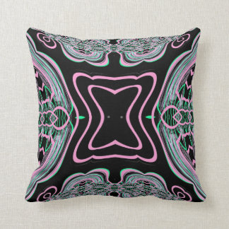 Black Pink Green Abstract American MoJo Pillow