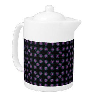 Black Pink,Green,Mauve Pattern Teapot.