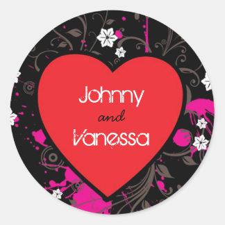 Black & Pink Grungy Heart Music Themed Wedding Round Sticker