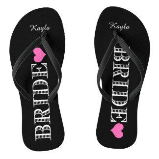 Black/Pink Heart Bride's Thongs