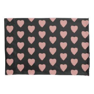Black & Pink Heart Pattern Stylish Love Hearts Pillowcase