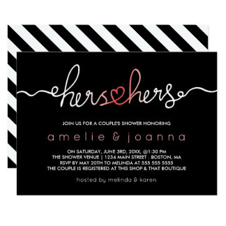 Black & Pink | Hers & Hers Couple's Shower Card