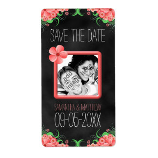 Black Pink Hibiscus Save The Date Wine Label Large Shipping Label