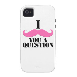 Black Pink I Moustache You A Question Fun iPhone 4 Cover