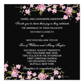 "Black Pink Japanese Cherry Blossoms Wedding 5.25"" Square Invitation Card"