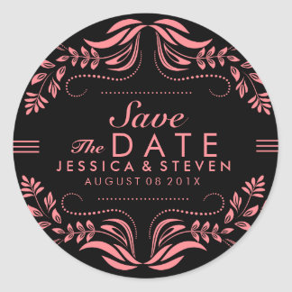 Black & Pink Lace Save The Date Sticker