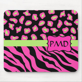 Black, Pink & Lime Green Zebra & Cheetah Skins Mouse Pad