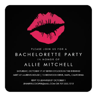 Black & Pink Lips Bachelorette Party 13 Cm X 13 Cm Square Invitation Card