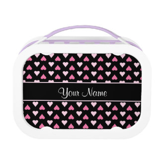Black Pink Love Hearts Lunchboxes