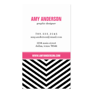 Black & Pink Modern Chevron Stripes Double-Sided Standard Business Cards (Pack Of 100)