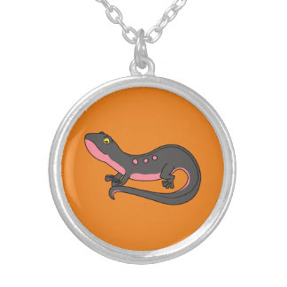 Black & Pink Newt with Spots Round Pendant Necklace