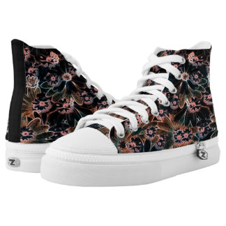 Black_Pink_Orange Flowers High Tops Shoes Printed Shoes