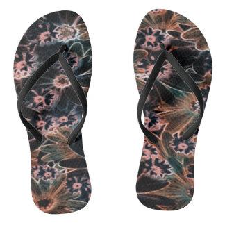 Black_Pink_Orange Flowers Pair of Flip Flops Thongs
