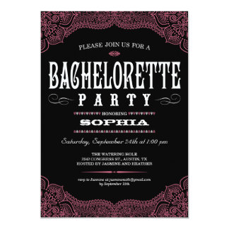 Black & Pink Paisley Bachelorette Party Invitation
