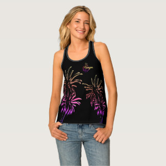Black Pink Palm Trees Customize Tangier Morocco Singlet