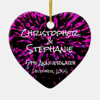 Black Pink Personalize Heart Anniversary Christmas Ceramic Ornament