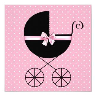Black Pink Polka Dot Baby Shower 13 Cm X 13 Cm Square Invitation Card
