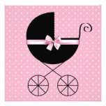 Black Pink Polka Dot Baby Shower Personalised Invite