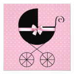 Black Pink Polka Dot Baby Shower Personalised Invite