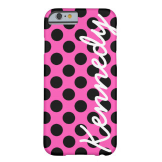 Black Pink Polka Dots Barely There iPhone 6 Case