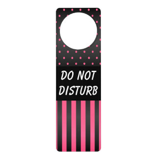 Black & Pink Polka Dots | Do Not Disturb Sign