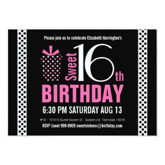 Black Pink Polkadots Sweet 16 Birthday Card