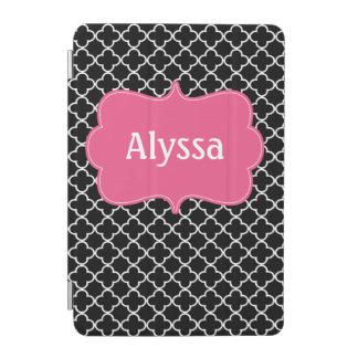Black Pink Quatrefoil Personalized Case iPad Mini Cover