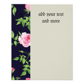 """Black,pink,roses,shabby,chic,vintage,victorian,fun 4.5"""" X 5.6"""" Flyer"""