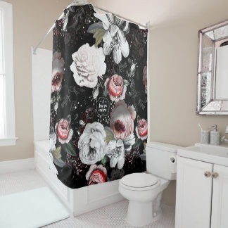 Black & Pink Victorian Rose Floral I Love You More Shower Curtain