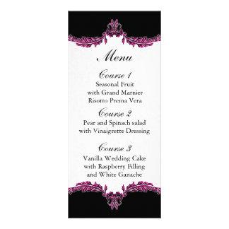 black pink wedding menu customised rack card