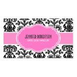 Black Pink & White Floral Damasks Pack Of Standard Business Cards
