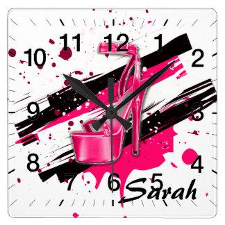 Black, Pink & White Hot High Heels Clocks