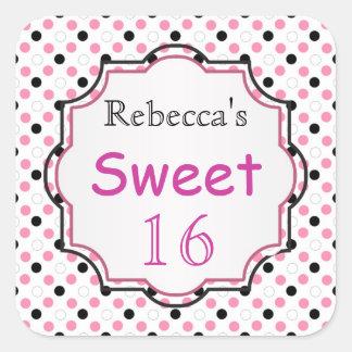 Black, pink, white polka dot Sweet 16 Sticker