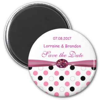 Black, pink, white polka dots Save the Date magnet