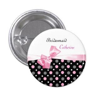 Black, pink, white polka dots Wedding Bridesmaid 3 Cm Round Badge