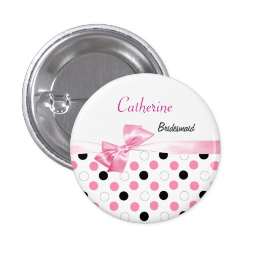 Black, pink, white polka dots Wedding Bridesmaid Buttons