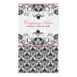 Black Pink & White Retro Floral Damasks Pattern