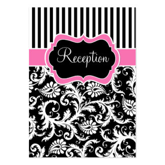 Black Pink White Stripe Damask Enclosure Card Business Card Template