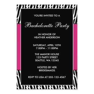 Black & Pink Zebra Bachelorette Party Invitations