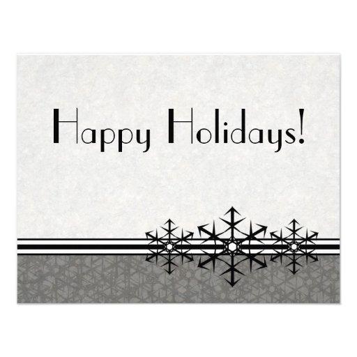 Black Pinstripe Holiday Snowflake Invitation