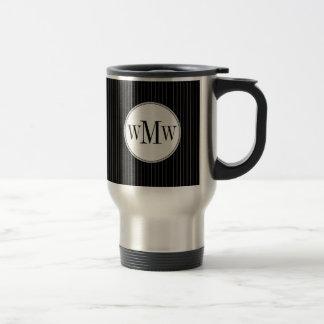 Black Pinstripe Monogram Mug