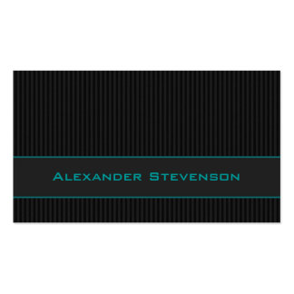 Black Pinstripes, Teal Professional Business Card Templates