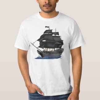 BLACK PIRATE SHIP TEE SHIRT