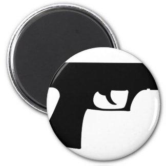 black pistol - gun 6 cm round magnet