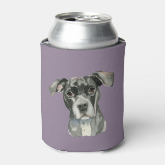 Black Pit Bull Dog Watercolor Portrait Can Cooler