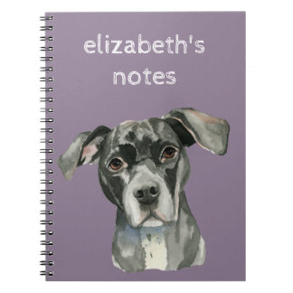 Black Pit Bull Dog Watercolor Portrait Notebooks