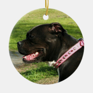Black pitbull ornament